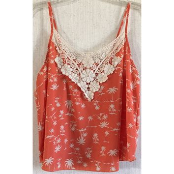 Mine Palm Tree Tank Top Flamingo Island Swing Floral Crochet Lace Coral Orange L