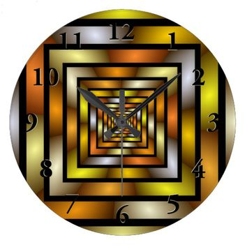 Luminous Tunnel Colorful Graphic Fractal Pattern Large Clock