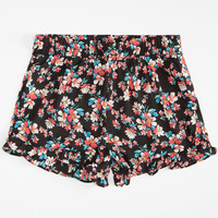 Full Tilt Floral Ruffle Womens Shorts Black Combo  In Sizes