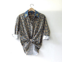 20% OFF SALE / vintage sunflower shirt. denim shirt. floral shirt. button down shirt. revival shirt.
