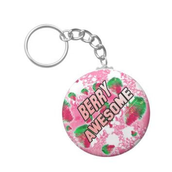 Berry Awesome Fruity Strawberries Keychain