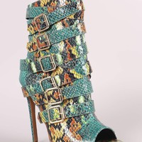 Python Print Strappy Buckled Straps Stiletto Booties