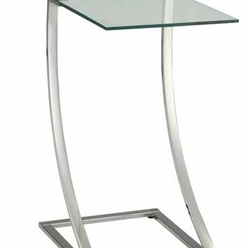 Chrome metal finish chair side end table with glass top