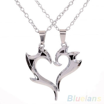 1pair Men's Women's Fashion Couple Heart Magic Wand Pendant Silver Chain Necklace Lovers Gift (Size: One Size, Color: Silver)