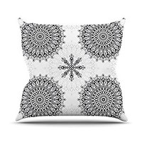 "Kess InHouse Julia Grifol ""Black Mandala"" White Black Throw Pillow, 16 by 16"""