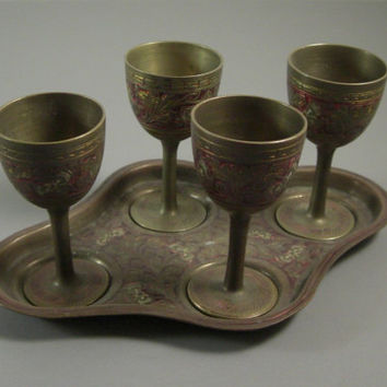 British India Brass Cordial Set // Hand Chased Tinted // 5 pieces // from UBlinkItsGone