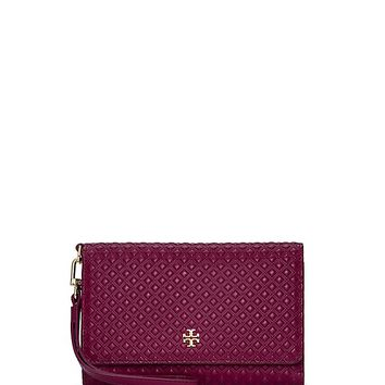 Tory Burch Marion Embossed Tri-fold Smartphone Wristlet