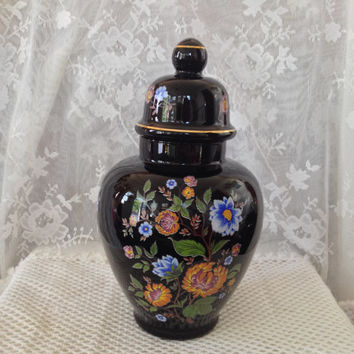 Black Ruby Glass Ginger Jar ARDALT Italy, Painted Floral, Large, Cabinet Display Glass