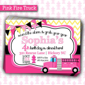 Pink Girl Fire Truck Birthday Invitation | Firefighter Girl Invite | Girl FireTruck Invitation Birthday
