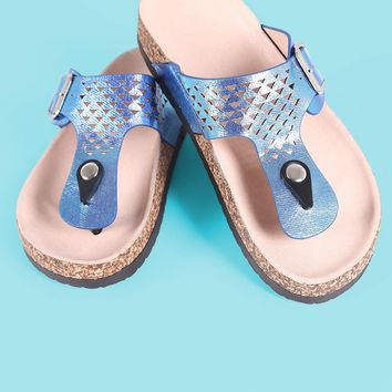 Qupid Iridescent Perforated Buckled Side Sandal