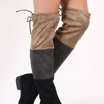 LMFIW1 Colorblock Suede Drawstring-Tie Over-The-Knee Riding Boots