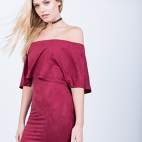 Off-the-Shoulder Suede Dress