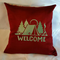 pillow cover Tent  Welcome camping embroidered throw cushion cover with a campsite  and trees handcrafted