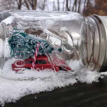 Snow globe mason jar red volkswagen golf Winter Christmas decor rustic retro bottle brush trees ball mason dorm room apartment