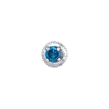 10k White Gold Womens Blue Colored Round Diamond Solitaire Screwback Stud Earrings 1/2 Cttw
