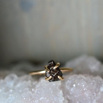 Meteorite Gold Fill Ring. Claw Outer Space Simple Ring. Mixed Metal Shooting Star Gold Ring. Stacking Meteorite. Simple Engagement Ring