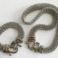 Vintage Stainless Steel Mesh Necklace Choker and Bracelet Set with Rhinestone Clasps, Silver Mesh Tubular Necklace and Bracelet