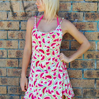 Festival Summer Dress - Pink Watermelon Print