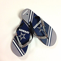 Dallas Cowboys Flip Flops with Crystals