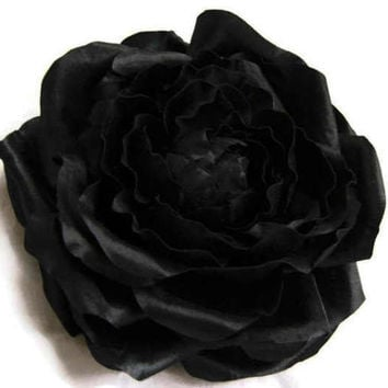 Classic Romantic Bridal Contrast Dark Black Satin Silky Rose Brooch Pin Corsage For Sash Hair Clip Completely Hand pressed Made to order