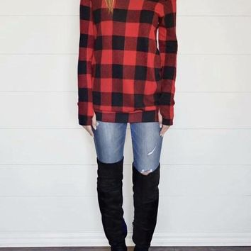 Buffalo Plaid Off the Shoulder Sweater