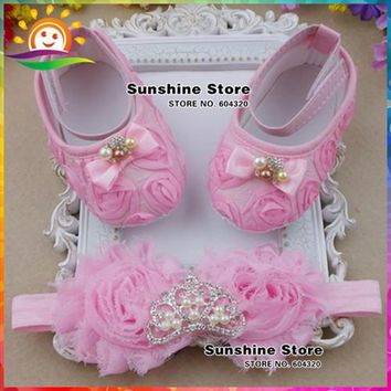 New baby shoes Headbands set,queen Rhinestone/pearl Toddler Crown newborn shoes,shabby