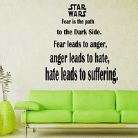 Wall Decals Fear Is The Path To Quote Star Wars Decal Vinyl Sticker Home Decor Interior Design Nursery Living-room Ms140