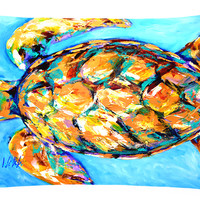 Sand Dance Turtle   Canvas Fabric Decorative Pillow