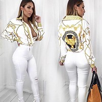 Versace Woman Men Fashion Lapel Shirt Top Tee