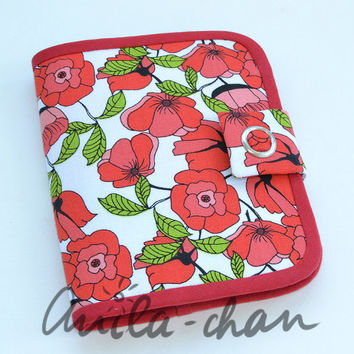 Red Poppy Small Wallet, Mini cotton fabric wallet, Card Wallet, Gift Card Holder