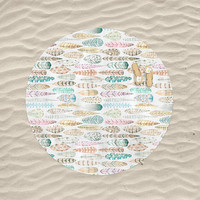 Feathers Round Beach Towel Watercolor Feathers Pastel Boho Bohemian Large Beach Blanket Towel