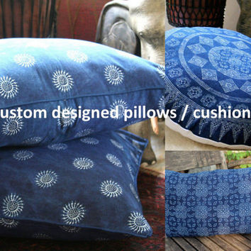 Custom Made Pillows, Double Sided Indigo Batik 16, 20, 30 Round / Square or Lumbar Cushions, Add Fringe Or Pom Poms Free Worldwide Shipping