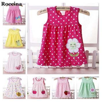 Summer Baby Girls Dress Girls Princess Dress Dot Flowers Aniamls Embroidered Baby Girls Clothes Kids Dresses Cotton Baby Clothes