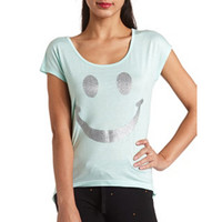 GLITTER SMILEY JERSEY TOP