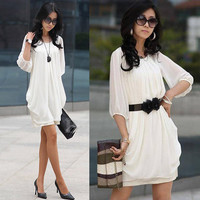 New Elegant Cocktail Summer Tunic Womens Short Sleeve Chiffon Mini Casual Dress