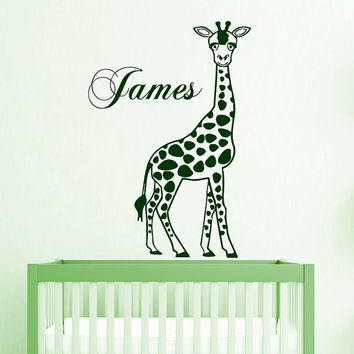 Giraffe Wall Decal Boy Personalized Name Stickers Safari Animal Vinyl Decals Art Mural Bedroom Decor Interior Design Nursery Room Decor KI31