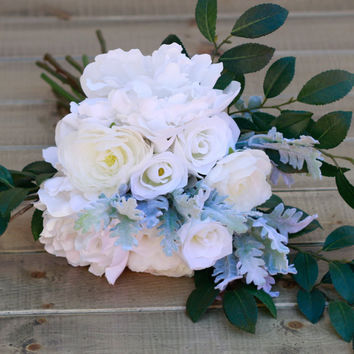 Silk Peony Rose Cascade Winter Wedding Bouquet- Winter White, Cream Ranunculus, Rose, and Peony Bouquet