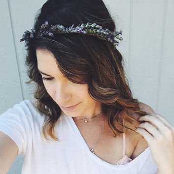 Lovely Little Lavender Crown-  lavender Flower Crown, fresh flowercrown, real flower crown, dried flower crown, floral headband