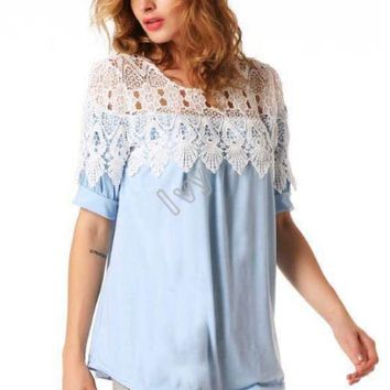 Casual Lace Embroidered Top Blouse
