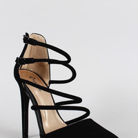 Qupid Nubuck Strappy Pointy Toe Stiletto Heel Color: Menthol, Size: 8