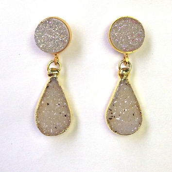 SALE 60 OFF Druzy Earrings Off White Druzy Post Earrings Raw Natural Geode Crystal  Dangle Earrings