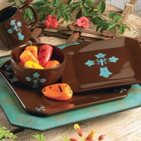 Turquoise Cross Dinnerware Set - 16 pcs