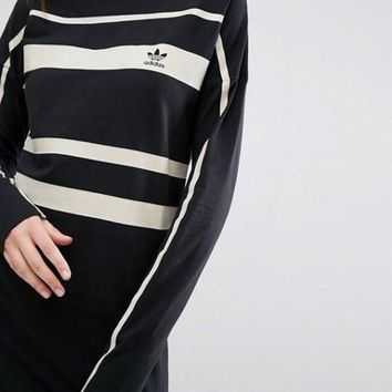 ADIDAS Fashion Long Sleeve Stripe Print Show Thin Side Open High Neck Long Dress G-JGYF