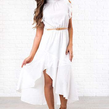 One Day High Neck Ruffle Dress (Off White)