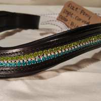 Bling English Curved Pony Size Browband Spring Green, Aqua and White Rhinestone