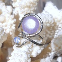 Jade,Moonstone Wrapped Hammered Silver Wire Ring