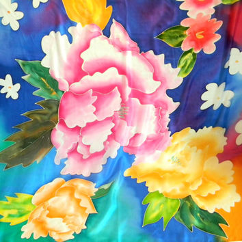 Vintage Hand Painted Floral Silk Scarf. Mint Condition.  Deadstock. Orange Yellow Pink Blue. Gift for her. Mother's Day gift