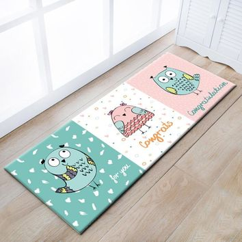 Autumn Fall welcome door mat doormat Multi-function cartoon owl ground mat for kitchen,  ,cute kids carpet ,decoration ground mat for childrenroom AT_76_7