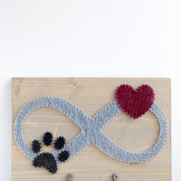 Dog leash holder - infinity sign with paw and heart design, key holder, gray, black and red, hallway decor for animal lovers