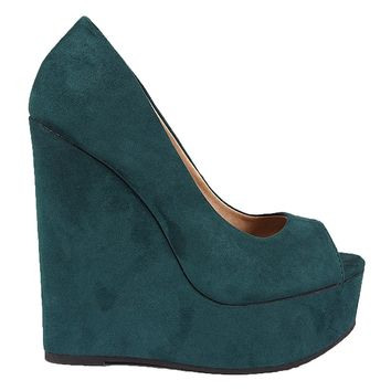 Peep Toe Vegan Suede Platform Wedge Teal